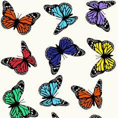 Be Diff - Estampas infantis   Borboletas coloridas by Laura Fernandez