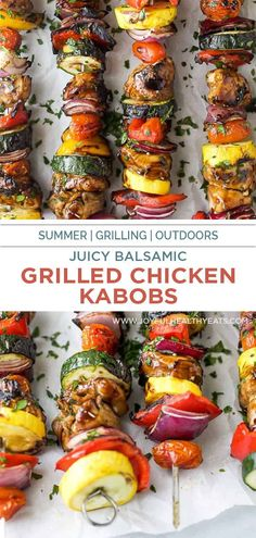 These juicy Balsamic Grilled Chicken Kabobs are the BEST kabobs you will ever have! Tender chicken marinated in a sweet balsamic sauce then grilled with vegetables for a healthy dinner recipe you can't beat. It's a summer grilling must for entertaining! #chicken #kabobs #grilling #marinade Healthy Summer Recipes, Healthy Meals, Healthy Food, Healthy Eating, Balsamic Grilled Chicken, Grilled Chicken Kabobs, Grilled Recipes, Kabob Recipes, Grilling Ideas
