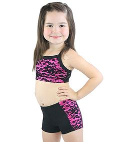 Another great find on #zulily! Neon Pink & Black Lace Crop Tank & Shorts - Toddler & Girls #zulilyfinds