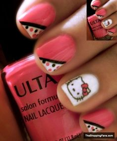 Hello kitty 6 nail art