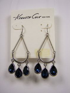 Kenneth Cole Silver Tone Sapphire Blue Crystal Chandelier Earrings MSRP $32 #KennethCole #Chandelier Only $24.99 with free shipping!