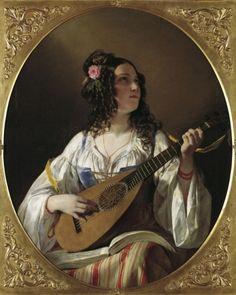 soyouthinkyoucansee on tumblr; Amerling, Friedrich von (1803-1887) - Die Lautenspielerin, 1838, Belvedere, Wien