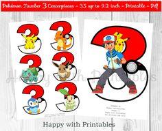 Pokemon GO Number 3 Centerpieces - Pokeballs Centerpieces - Pokemon GO - Pikachu - Pokemon Centerpieces - Pokemon party - Pokémon printable by HappywithPrintables on Etsy