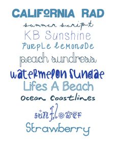 tessacotton: Summertime Fonts  ~~ {10 Free fonts w/ links}