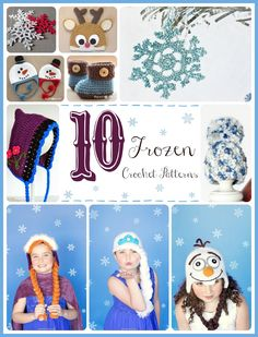 10 Free Frozen Inspired Crochet Pattern- (not knitting, but too cute not to pin) Crochet Girls, Knit Or Crochet, Crochet For Kids, Crochet Crafts, Yarn Crafts, Yarn Projects, Crochet Projects, Frozen Crochet, Crochet Character Hats