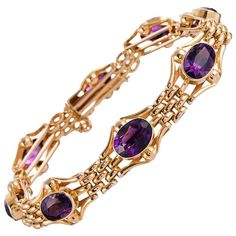 English Victorian 14 Carats Amethysts Gold Bracelet