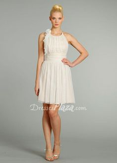 A-line Short Low Back Pleated Bridesmaid Dress at dressesplaza.com Item: 	18032 List Price: 	$ 340.00 Our Price: 	$139.00