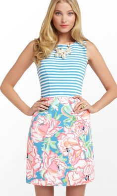 Lilly Pulitzer Julianna Dress in Lucky Chin Combo, Flutter Blue