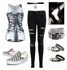 """Emo scene kid"" by queenofthehopeless ❤ liked on Polyvore featuring moda, Vans y Miss Selfridge"
