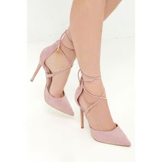 LULUS Michele Dusty Rose Lace-Up Heels ($36) ❤ liked on Polyvore featuring shoes, pink, laced up shoes, wrap shoes, lace up shoes, pointed toe shoes and shiny shoes