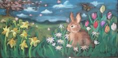 Spring scene for your chalkboard horse. Wow! Perhaps do the bunny on the hip, some daffodils on the front legs, tulips on the back legs...