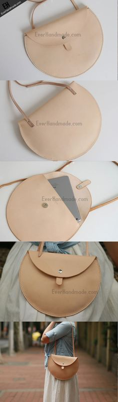 Handmade Leather crossbody purse bag beige purse for women