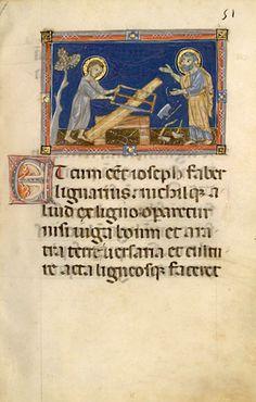 Christ assists St. Joseph, Apocrypha – BNF Latin 2688, fols. 51 and 52v (1275-1299) Bibliothèque nationale de France