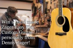 Zager Guitar Giveaway Who'd pass up a chance to WIN! a great sounding, easy-play acoustic guitar by Zager Guitars? Custom Acoustic Guitars, Custom Guitars, Tommy Emmanuel, Giveaways, Advertising And Promotion, Guitar Picks, Playing Guitar, No Response, Guitar Songs