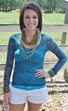 Lace Teal Blouse $13.95 www.gugonline.com
