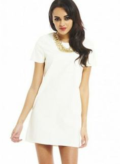 Cream Short Sleeve Faux Leather Shift Mini Dress #ustrendy #fashion #style #dress #white #shift #fauxleather #classy #chic #minidress #spring