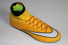 SR4U Reflective Orange Soccer Laces on Nike MercurialX Proximo
