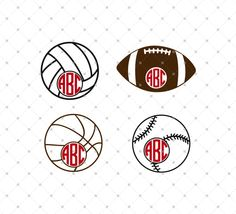 Sport Balls Monogram SVG Cut Files for Cricut and Silhouette