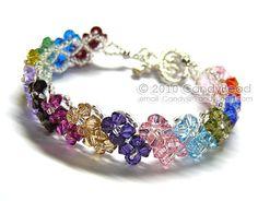 Pulsera de cristal de Swarovski de varios colores con por candybead