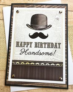 """Happy Birthday Handsome Greeting Card, Guy, Man, Masculine, Husband, Boyfriend, Father, Son, Bowler Hat, Mustache, Vintage-Look - 5"""" x 7"""" by PaperDahlsLLC on Etsy"""