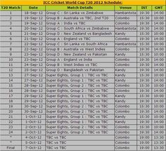 T20 Schedule