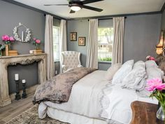 A statement piece in the remodeled bedroom is a French antique mantel, dating to the turn of the last century, used as a decorative wall feature.