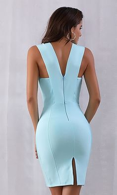 Teasing You Sky Blue Sleeveless Plunge V Neck Bodycon Bandage Mini Dress