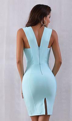 Teasing You Sky Blue Sleeveless Plunge V Neck Bodycon Bandage Mini Dre – Indie XO Elegant Dresses, Cute Dresses, Beautiful Dresses, Casual Dresses, Short Dresses, Beautiful Sky, Mini Dresses, Mode Outfits, Chic Outfits