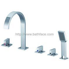 Brass Deck Mounted 5 hole Bath Mixer Bath Mixer, Sink, Chrome, Brass, Ceramics, Bathroom, Sink Tops, Ceramica, Washroom