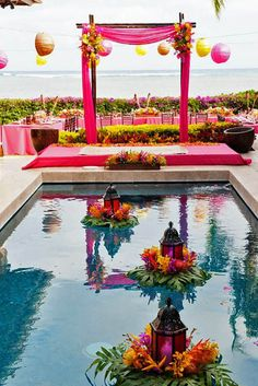 21 Wedding Pool Party Decoration Ideas For Your Backyard Wedding - pool decor Floating Lanterns, Floating Flowers, Candle Lanterns, Beach Ceremony, Wedding Ceremony, Reception, Pool Wedding Decorations, Floating Pool Decorations, Anniversary Decorations