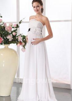 Strapless Floor Length Ruched Flower  Zipper Chiffon A-line Sleeveless White Maternity Wedding Dresses