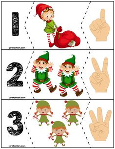 Teach counting skills with these elves! Great for teaching counting skills and number recognition for Quick prep and great for math centers! Christmas Math, Preschool Christmas, Toddler Christmas, Kindergarten Activities, Preschool Activities, Christmas Crafts, Autism Activities, Christmas Activities, Theme Noel