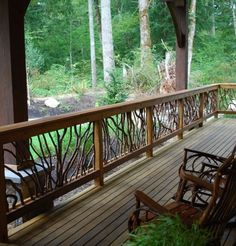would love this on back porch..twig branches & railing