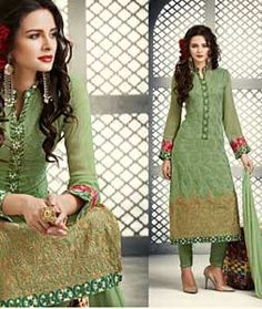 Buy Green Georgette Pant Style Suit 73128 online at lowest price from huge collection of salwar kameez at Indianclothstore.com.