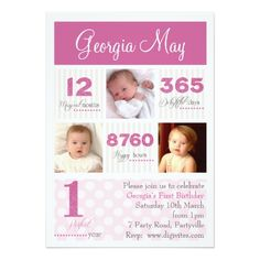 Girl's 1st Birthday Party Invitations One first year Baby Girl First Birthday Card