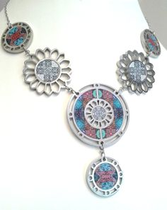 NOA Jewellery stainless steel and walnut six piece necklace in turquoise and grey. www.noajewellery.com
