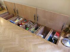 sneaky storage in the floor.  hatch. hidden cabinets. mobile home space saver.  diy