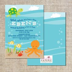 Under the Sea Birthday party Invitation by tickledpinkpaperie, $30.00