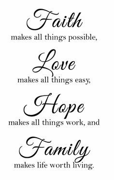 Newclew Faith Makes All Things Possible, Love Makes All Things Easy, Hope Make All Things Work, and Family Makes Life Worth Living Wall Art Sayings Sticker Décor Decal Prayer Church Jesus Pray Wall Quotes, Sign Quotes, Words Quotes, Art Sayings, Qoutes, Faith Hope Love Tattoo, Faith In Love, Vinyl Wall Stickers, Wall Decal Sticker