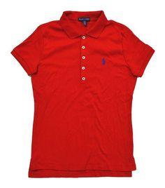 32.48 - Ralph Lauren Sport Women s Interlock Polo Shirt Red Royal Blue Pony   ralphlauren Ralph 88da6c11ee4