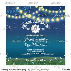 Evening Meadow String Lights Wedding Invitation