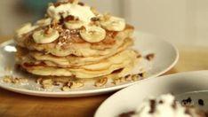 Pancakes 3 Ways: Banana Walnut, Chocolate Chip, And Blueberry Ricotta GIF - Pancakes Hotcakes Chocolate - Discover & Share GIFs