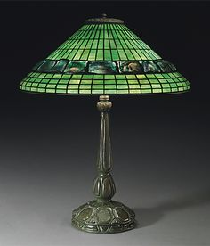 A TURTLEBACK TILE TABLE LAMP, CIRCA 1910