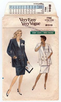 Very Easy Vogue 7704 UNCUT Sewing Pattern Women's Maternity Jacket and Skirt Sewing Pattern; Loose-fitting, unlined, below hip, double-breasted ja Skirt Sewing, Skirt Patterns Sewing, Maternity Patterns, Maternity Jacket, Couture Sewing, Double Breasted Jacket, Straight Skirt, Vogue, Skirts