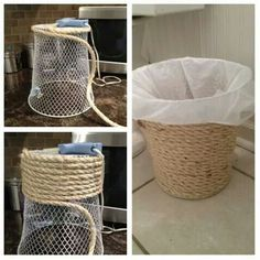 Get a dollar store trash an and hot glue top around the entire thing. Id probably use a trash can that was just plastic so you didnt need the plastic bag to cover the mesh inside. - Diy Home Decor Dollar Store