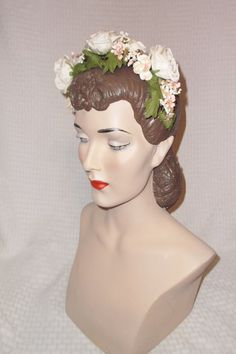 40s 50s Vintage Headband with White Roses and by MyVintageHatShop