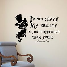 Alice In Wonderland Wall Decal Cheshire Cat Quote I'm Not Crazy My Reality Is Just Different Than Yours Nursery Kids Bedroom Wall Decor Q169 alice in wonderland Fab Wall Decals alice wall decals nursery decor wall decal bedroom decor cheshire cat nursery wall art cheshire cat quote i'm not crazy cheshire cat art kids wall decor kids wall decal 21.99 USD #goriani