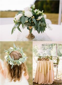 Green, white, and pink wedding details with a flower girl halo