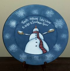 Decorative plate hand painted snowman plate by countrylanefolkart