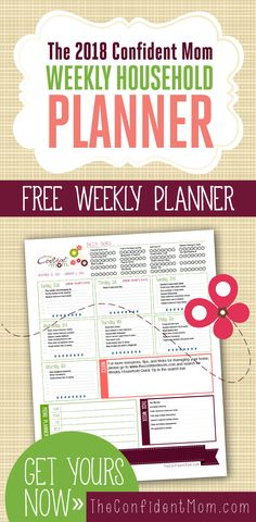 Take control of your household in FREE planner! The Confident Mom Weekly Household Planner breaks down household tasks into manageable to-dos you can actually accomplish. Customize or use as-is. Week Planner, Happy Planner, Planner Ideas, Family Planner, Life Planner, Ocd, Printable Planner, Free Printables, Planner Stickers